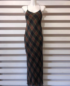 abito BIAS DRESS DOUBLE FACE check black