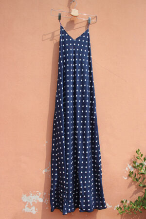 abito BIAS DRESS SILK crepe de chine pois blu