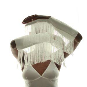 guanti ONE FINGER fringed white